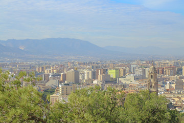 skyline of malaga and the mountain landscape