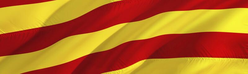 Catalonia flag. Flag of Barcelona. 3D Waving flag design,3D rendering. The national symbol of Barcelona background wallpaper. 3D ribbon, wallpaper, pattern background. Waving sign background wallpaper