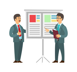 Whiteboard with text and data vector. Man giving presentation on seminar, boss listening to orator and adding remarks. People working in business field
