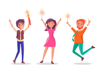 Happy man and woman isolated cartoon people celebrate birthday party. Male with sparkler, fireworks elements in hands, vector stylish friends have fun