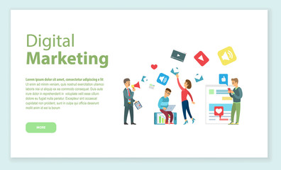 Internet business, digital marketing online page vector. Programmer and marketologist with laptop or smartphone and loudspeaker, apps and sites web icons