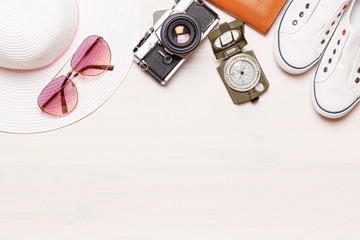 Flat lay accessories traveler on a white background. The concept of rest. Copy space