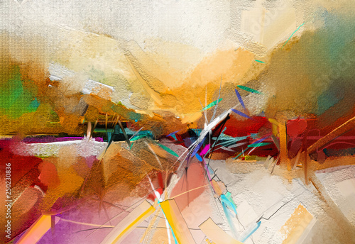 Abstract Colorful Oil Acrylic Paint Brush Stroke On Canvas