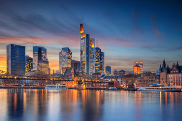 Frankfurt am Main, Germany. Cityscape image of Frankfurt am Main skyline during beautiful sunset.