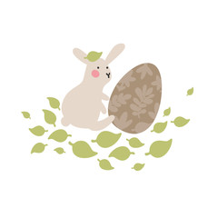 Adventures of Easter bunnies, who are looking for and hiding holiday eggs. Easter design elements in minimalistic vector style. Illustrations for kids.