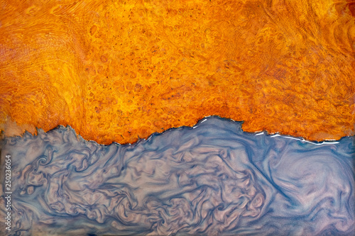 Casting epoxy resin stabilizing burl wood real abstract art