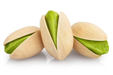 Delicious pistachios, isolated on white background