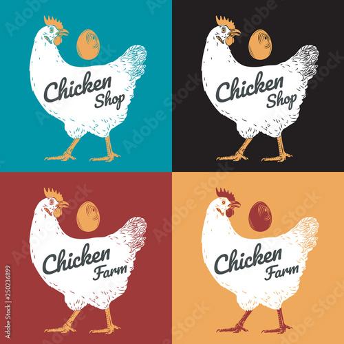 4f03b1c8484 Chicken hen fresh, roster head, egg isolated logo, white back. For ...