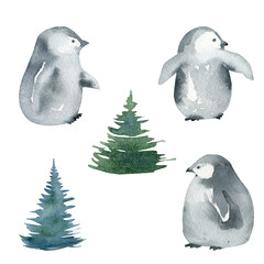 watercolor penguins set