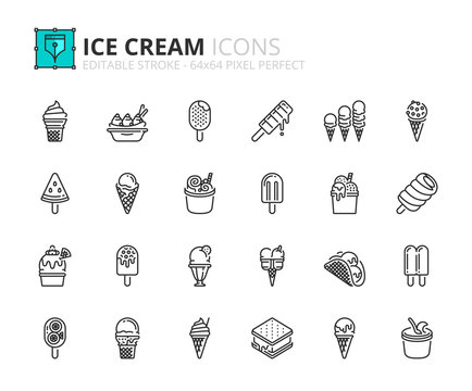 Outline icons about ice cream