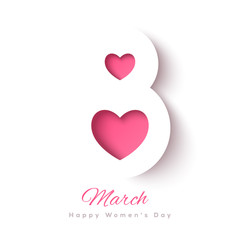 March 8 symbol with pink hearts