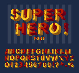 Super hero font. 3D alphabet letters and numbers in a comics style.