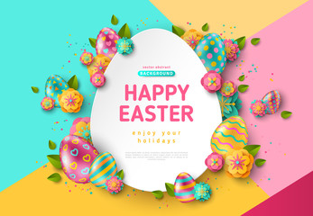 Easter egg frame and flowers