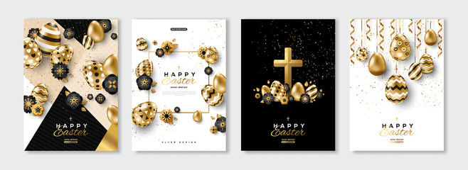 Easter black and gold posters