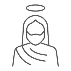 Jesus thin line icon, christianity and god, christ sign, vector graphics, a linear pattern on a white background.