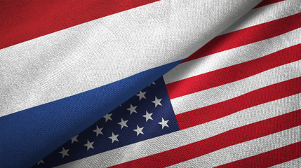 Netherlands and United States two flags textile cloth, fabric texture
