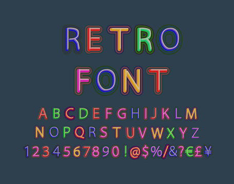 Vector 3d oblique retro font