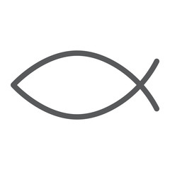 Christian fish line icon, religious and symbol, jesus fish sign, vector graphics, a linear pattern on a white background.