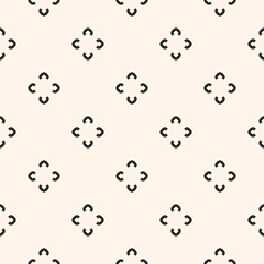 Simple floral pattern. Vector minimalist seamless texture with flower shapes