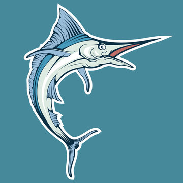blue marlin fish on a blue background. vector graphic to design
