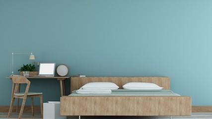 The Interior Bedroom space in hotel - 3D Rendering