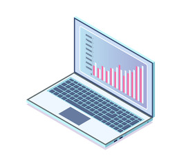 Computer with Infocharts of business project vector. Isolated isometric 3d icon with laptop and data shown on screen. Graphics and info, statistics