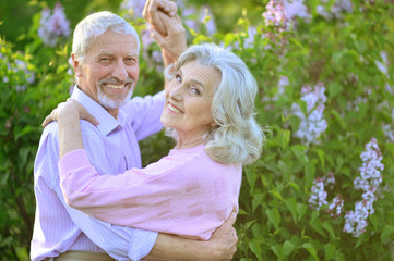 Portrait of happy senior couple dancing in park