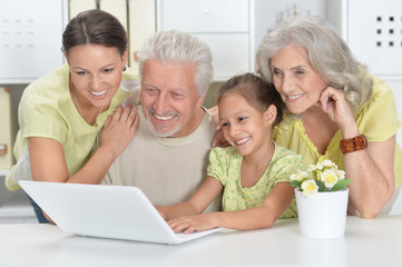 Portrait of grandparents, daughter and granddaughter using laptop