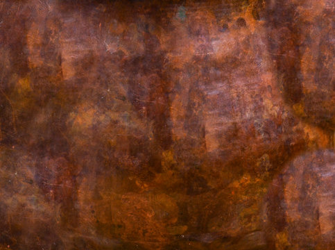 Abstract, cupric, copper pattern, texture. Metal, iron steel surface, brown colored material