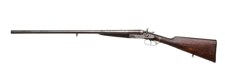 Vintage double-barreled hunting rifle isolated on a white back. Wall mural