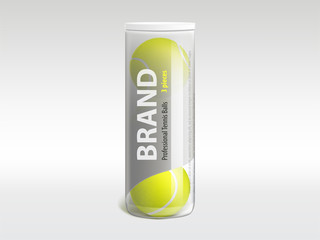 Three tennis balls in branded glossy transparent plastic tube 3d realistic vector. Professional sports equipment shop or store product mockup template, racket sport and fitness inventory illustration