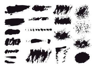 Hand drawn brush vector set of backgrounds for spots, strokes. Brush Black grunge set. Monochrome collection of design elements.
