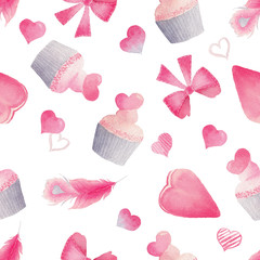 Watercolor seamless pattern with bright pink hearts, cakes and feathers.