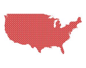 Karte der USA in rechten Maschen
