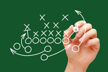 Coach Drawing American Football Playbook