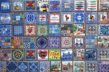 Souvenirs, miniatures of traditional Azulejo tiles, Lisbon, Portugal, Europe