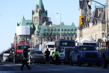Members of the United We Roll protest convoy arrive in Ottawa