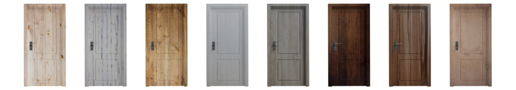 Set of various wooden closed doors isolated cutout on white background. 3d illustration