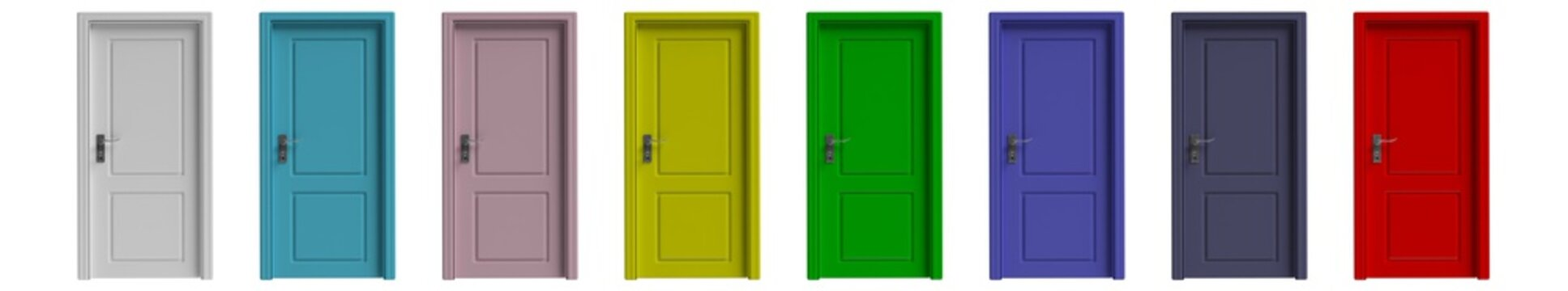Set of various colors closed doors isolated cutout on white background. 3d illustration