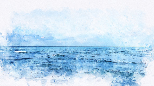 Abstract sea soft wave watercolor illustration painting backgroud.