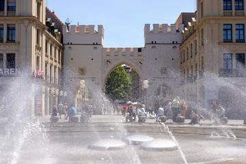 Karls gate, fountain at Karlsplatz, old town, Munich, Upper Bavaria, Bavaria, Germany, Europe