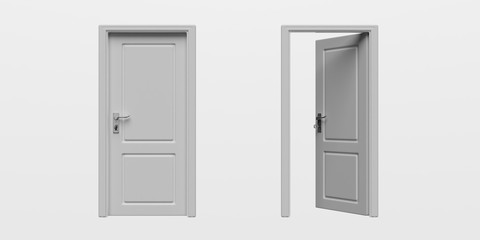 Set of closed and open doors isolated cutout on white background. 3d illustration