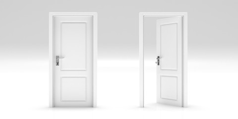Set of closed and open doors isolated on white background. 3d illustration