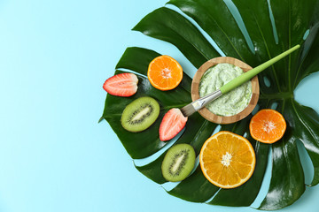 Natural ingredients for cosmetic and scrub on color background