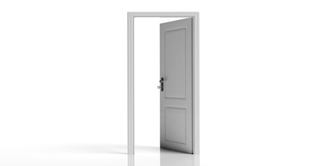 White decorated open door isolated on white background. 3d illustration