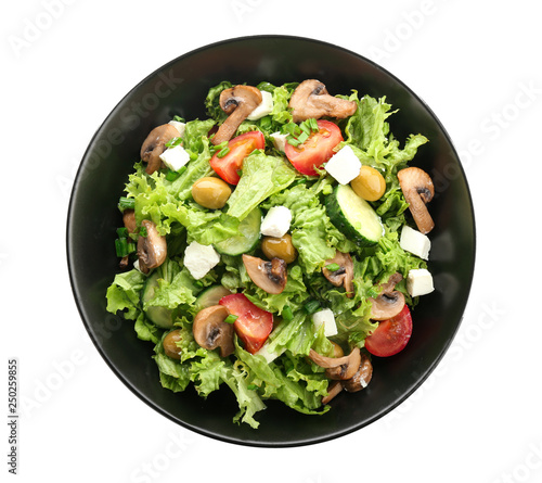 Plate With Tasty Fresh Salad On White Background Stock