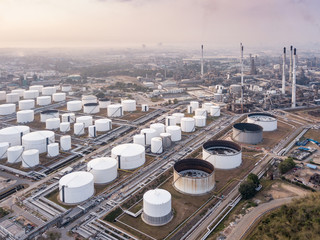 Aerial photographs of oil refineries, refinery plants, refinery industry power investment business concept