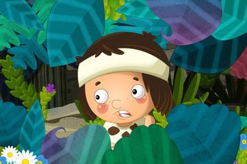 cartoon scene with caveman barbarian warrior in the jungle by night -
