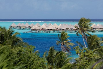 Bungalows in the turquoise sea, Sofitel Bora Bora resort, Bora Bora island, Society islands, French Polynesia, Oceania