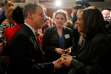Democratic 2020 U.S. presidential candidate Harris greets audience members after speaking at Politics and Eggs in Manchester